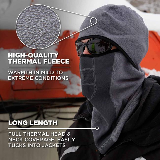 High-quality thermal fleece: warmth in mild to extreme conditions. Long length: full thermal head and neck coverage easily tucks into jackets. Zoomed in view of fleece.