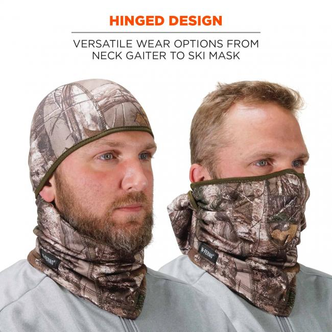 Hinged design: versatile wear options from neck gaiter to ski mask. Model wearing balaclava pulled up and down.