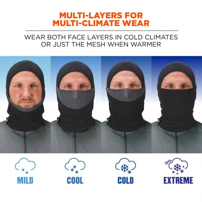 multi-layers for multi-climate wear: wear both face layers in cold climates or just the mesh when warmer. mild, cool, cold extreme image 2