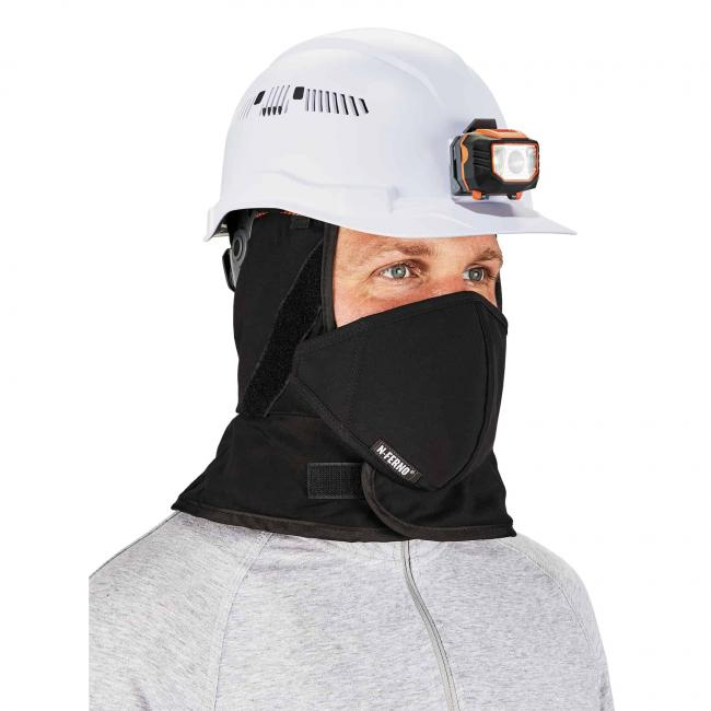 Balaclava on model under hard hat
