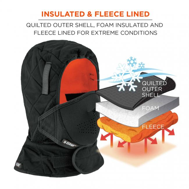 Insulated & fleece lined: quilted outer shell, foam insulated and fleece lined for extreme conditions