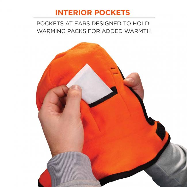 Interior pockets: pockets at ears designed to hold warming packs for added warmth