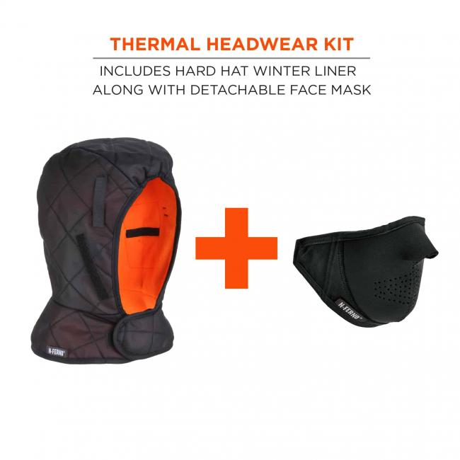 Thermal headwear kit: includes hard hat winter liner along with detachable face mask. Liner + mask.