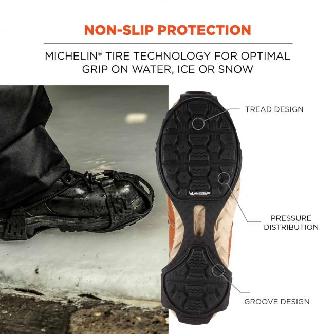 Non-slip protection: Michelin Tire Technology for optimal grip on water, ice or snow. Arrows on picture point to tread design, pressure distribution, and groove design.