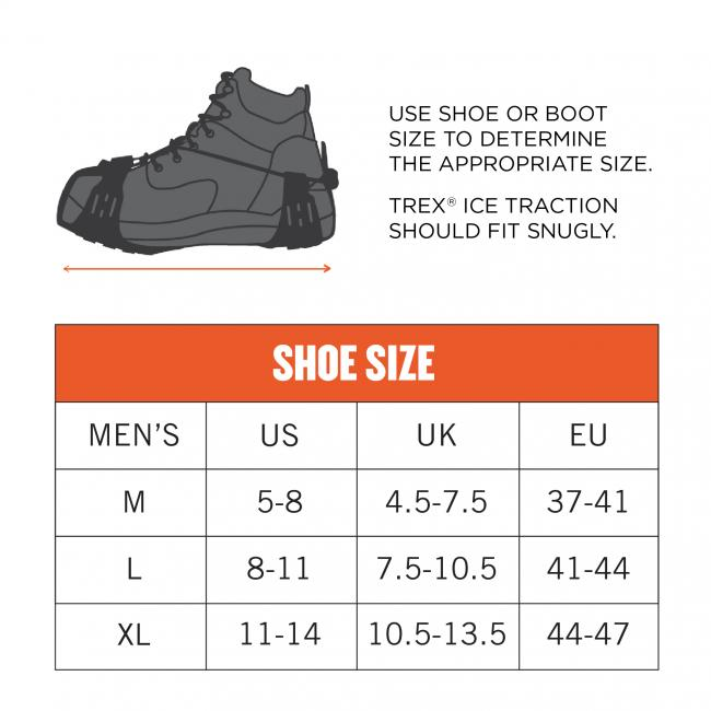 Use shoe or boot size to determine the appropriate size. Trex Ice Traction should fit snugly. Size M dimensions: 5-8 US Mens. Size L dimensions: 8-11 US Mens. Size XL dimensions: 11-14 US Mens.