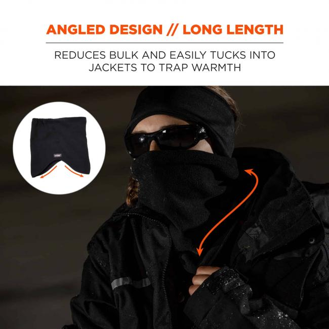 Angled design // long length: reduces bulk and easily tucks into jackets to trap warmth