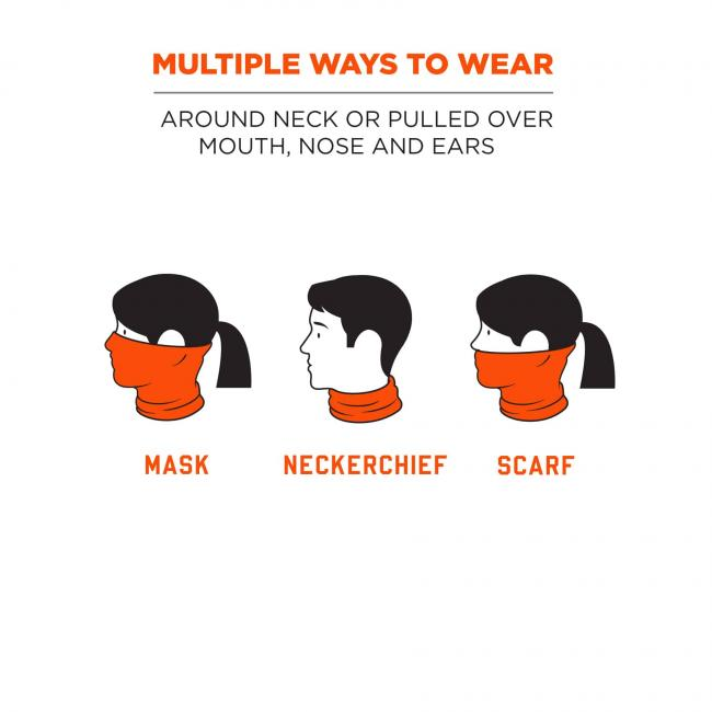 Multiple ways to wear: around neck or pulled over mouth, nose and ears. Icons show gaiter being worn as mask, neckerchief or scarf.