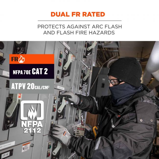 Dual FR rated: Protects against arc flash and flash fire hazards. Icons say: FR, NFPA 70E CAT 2, ATPV 20 CAL/CM2, NFPA 2112
