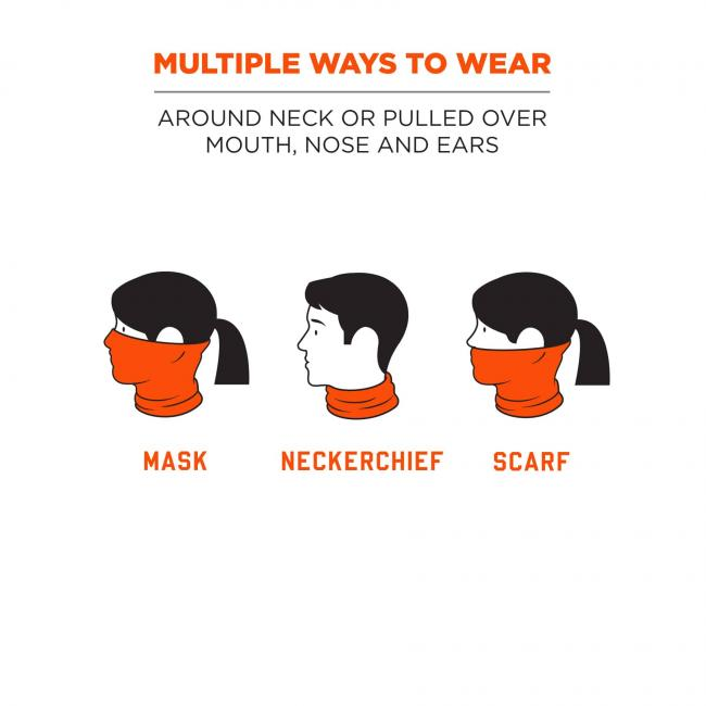 Multiple ways to wear: Around neck or pulled over mouth, nose and ears. Icons show gaiter being worn as a mask, neckerchief, and scarf.