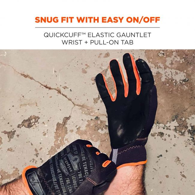 Snug fit with easy on/off: QuickCuff elastic gauntlet wrist + pull on tab
