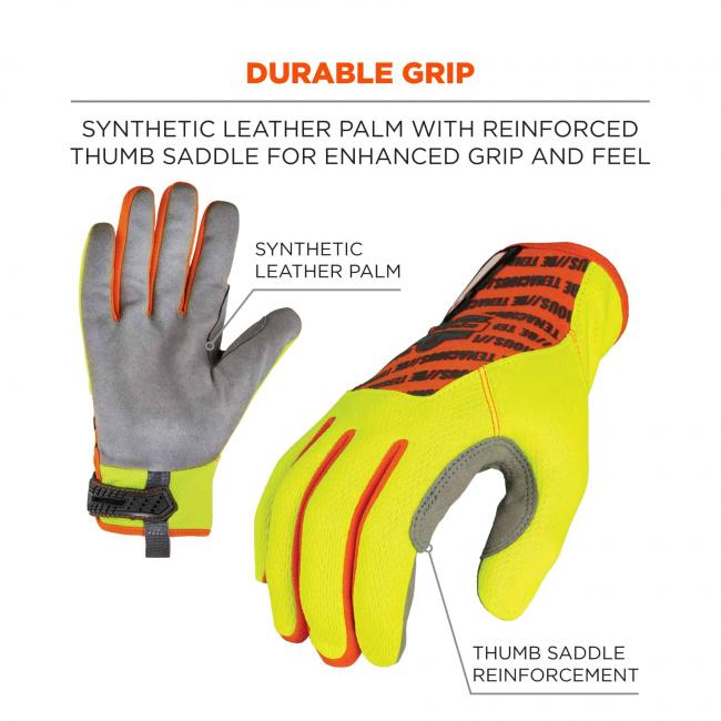 Durable grip: Synthetic leather palm with reinforced thumb saddle for enhanced grip and feel. Arrows point to synthetic leather palm and thumb saddle reinforcement.