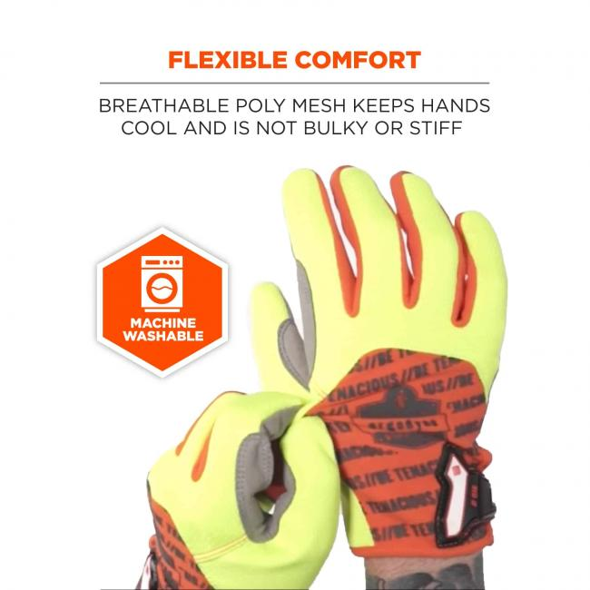 Flexible comfort: Breathable poly mesh keeps hands cool and is not bulky or stiff. Icon says machine washable.