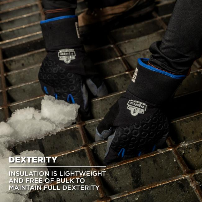 Dexterity: Insulation is lightweight and free of bulk to maintain full dexterity. Image shows person lifting up metal grate while wearing gloves.