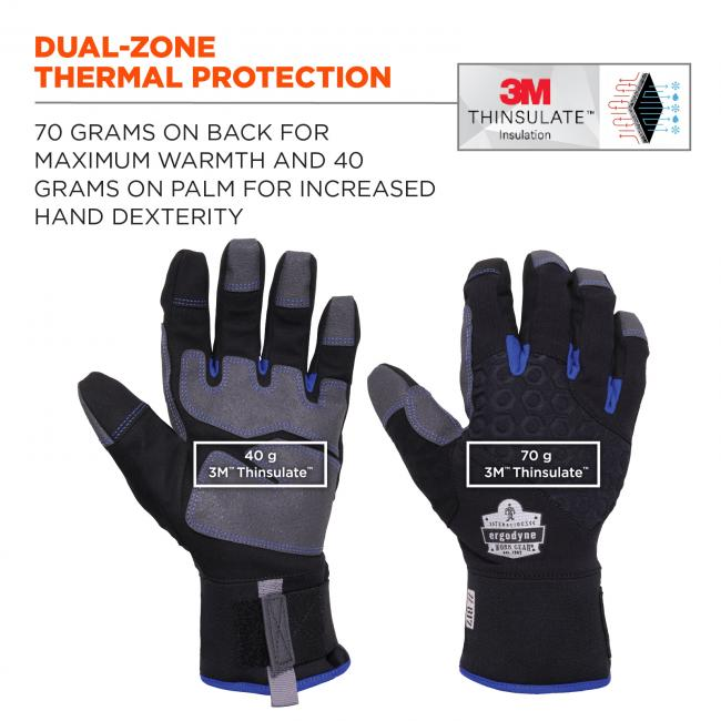 Dual-zone thermal protection. 3M Thinsulate Dual-Zone insulated with 70 grams on back for maximum warmth and 40 grams on palm for increased hand dexterity. Icon on top right shows 3M thinsulate tech.
