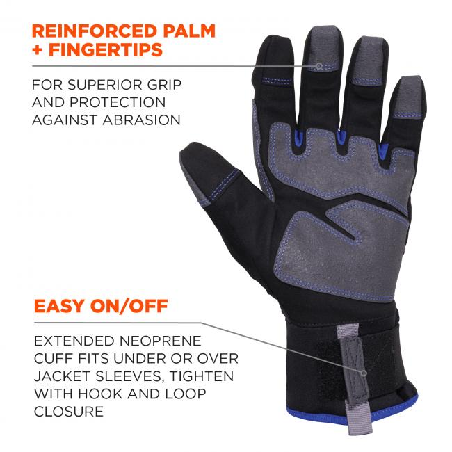 Reinforced palm + fingertips: For superior grip and protection against abrasion. Easy on/off: Extended neoprene cuff fits under or over jacket sleeves, tighten with hook and loop closure