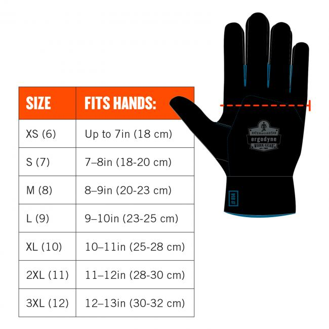 Image shows to measure across hand at base of fingers. Size chart: size xs(6) fits hands up to 7in(18cm). Size S(7) fits hands 7-8in(18-20cm). Size M(8) fits hands 8-9in(20-23cm). Size L(9) fits hands 9-10in(23-25cm). Size XL(10) fits hands 10-11in(25-28cm). Size 2XL(11) fits hands 11-12cm(28-30cm). Size 3XL(12) fits hands 12-13in(30-32cm).