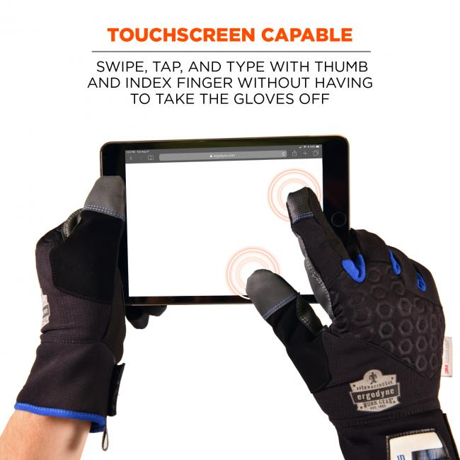 Touchscreen capable: swipe, tap and type with thumb and index finger without having to take the gloves off