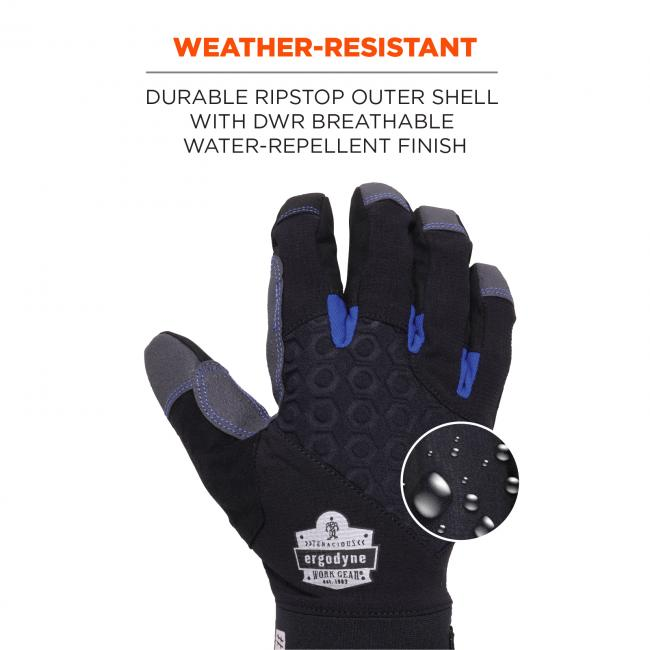 Weather-resistant: Durable ripstop outer shell with DWR breathable weather-repellent finish. Image shows water droplets on glove.