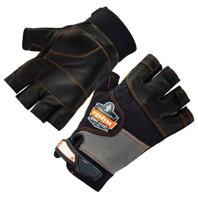 901 S Black Half-Finger Leather Impact Gloves image 1