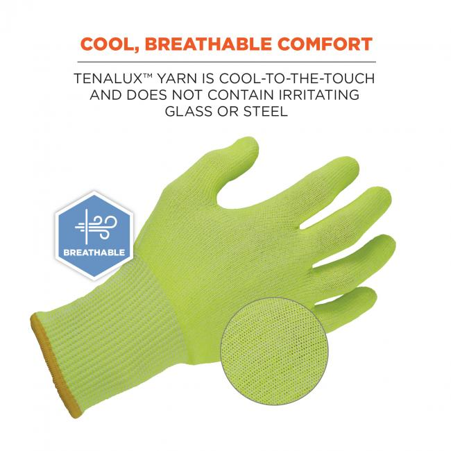 "Cool, breathable comfort: TenaLux man is cool-to-the-touch and does not contain irritating glass or steel. Image shows 360 degree breathability. Close up of material says ""TenaLux yarn""."