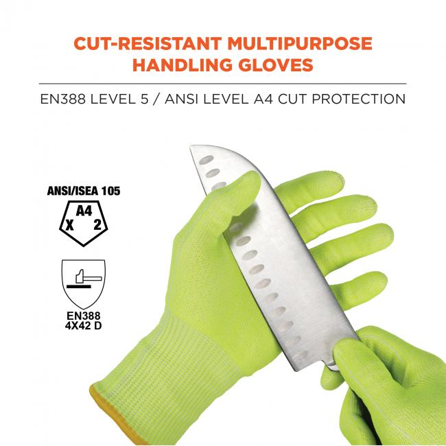 "Cut-resistant multipurpose handling gloves: EN388 Level 5 / ANSI Level A4 Cut Protection. Image shows knife being pulled across gloves. Icons on left say ""ANSI A4"" and ""EN388 354X D"""