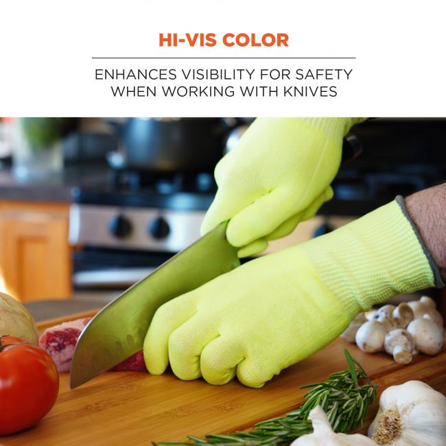 Hi-vis color: enhances visibility for safety when working with knives.