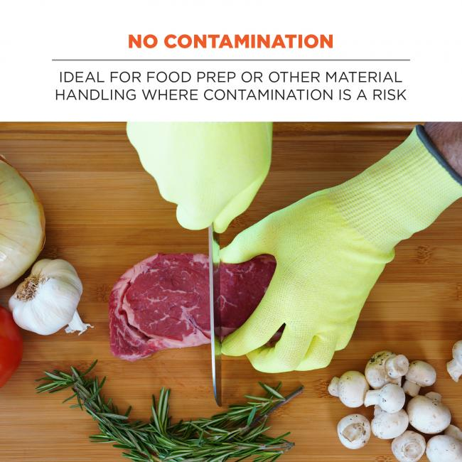 No contamination: Ideal for food prep or other material handling where contamination is a risk. Image shows person wearing gloves and preparing food.