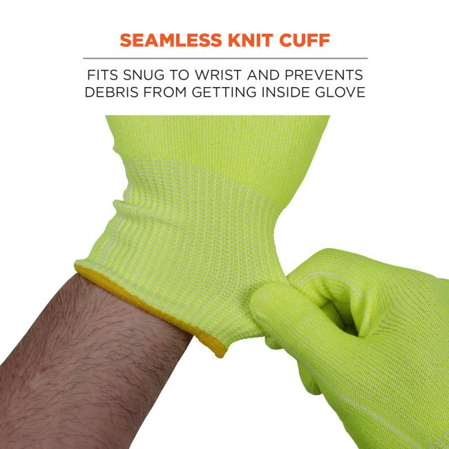 Seamless knit cuff: fits snug to wrist and prevents debris from getting inside glove