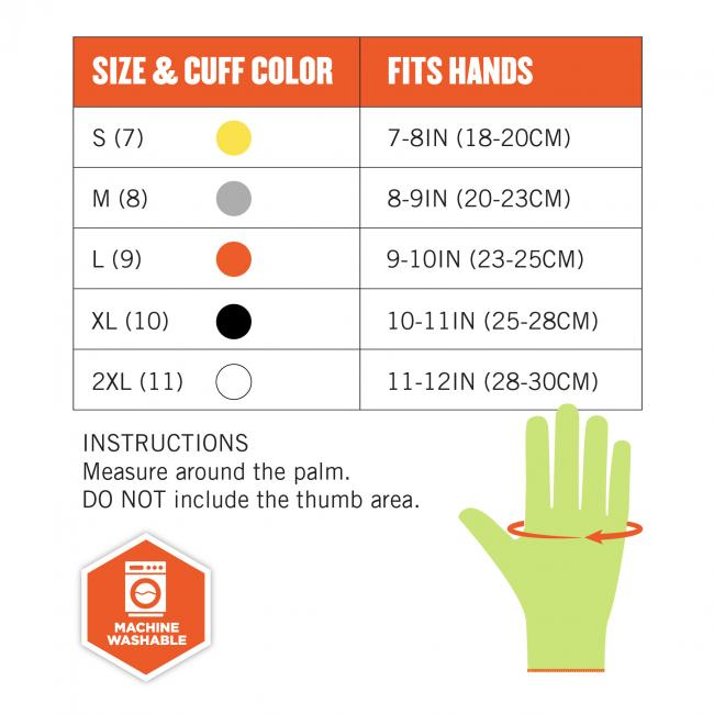 Size chart. Instructions: Measure around the palm. DO NOT include the thumb area. Image shows how to measure across palm. Icon says MACHINE WASHABLE. Size & Cuff Color S (7, yellow) fits hands 7-8in(18-20cm). Size & Cuff Color M (8, gray) fits hands 8-9in(20-23cm). Size & Cuff Color L (9, orange) fits hands 9-10in(23-25cm). Size & Cuff Color XL (10, black) fits hands 10-11in(25-28cm). Size & Cuff Color 2XL (11, white) fits hands 11-12in(28-30cm).