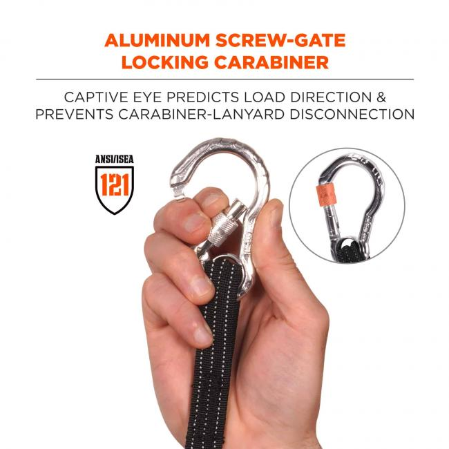 Aluminum screw-gate locking carabiner: captive eye predicts load direction and prevents carabiner disconnected. Badge says ANSI/ISEA 121