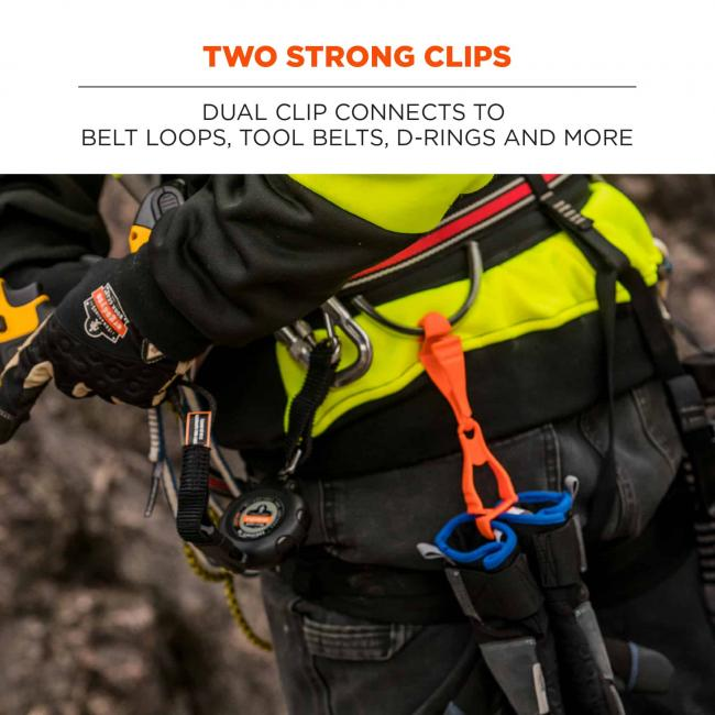 two strong clips: dual clip connects to belt loops, tool belts, d-rings, and more image 3