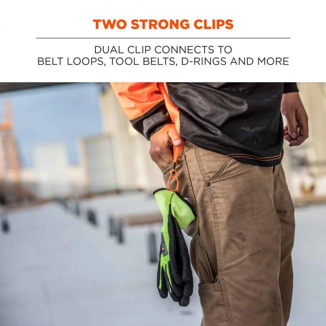 two strong clips: dual clip connects to belt loops, tool belts, d-rings and more