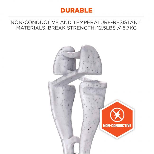 durable: non-conductive and temperature-resistant materials, break strength: 12.5lbs // 5.7kg. non-conductive