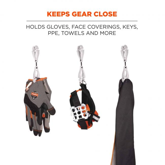 Keeps gear close: holds gloves, face coverings, keys, ppe, towels, and more