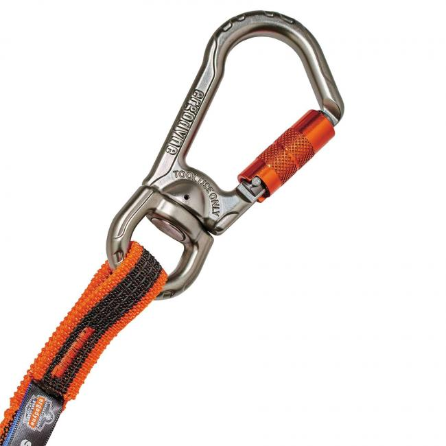 3109F(x) Standard Orange Single Triple-Locking Carabiner with Swivel-15lbs image 4