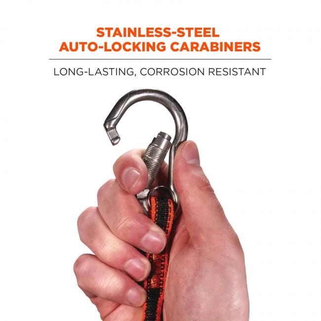 Stainless-steel auto-locking carabiner: long-lasting, corrosion resistant. Image shows person opening carabiner with hand.