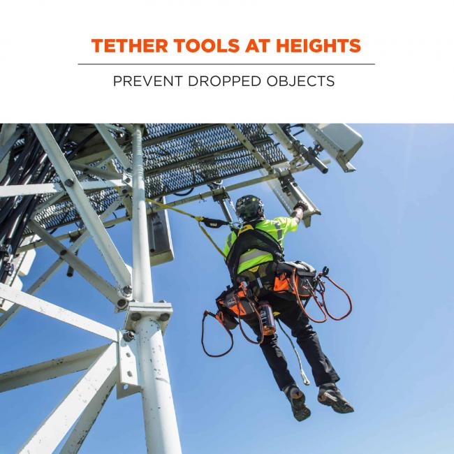 Tether tools at heights: prevent dropped objects. Image of tower climber with tethered tools.