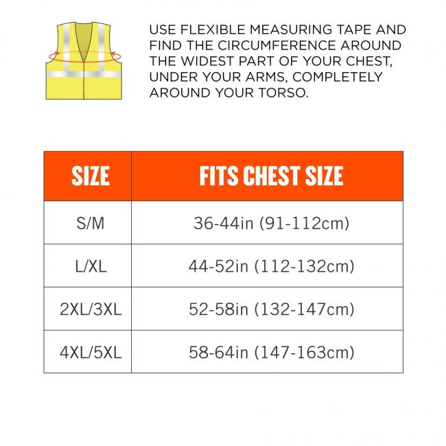 use flexible measuring tape and find the circumference around the widest part of your chest, under your arms, completely around your torso. Size S/M fits chest size 36-44in (91-112cm). Size L/XL fits chest size 44-52in (112-132cm). Size 2XL/3XL fits chest image 8