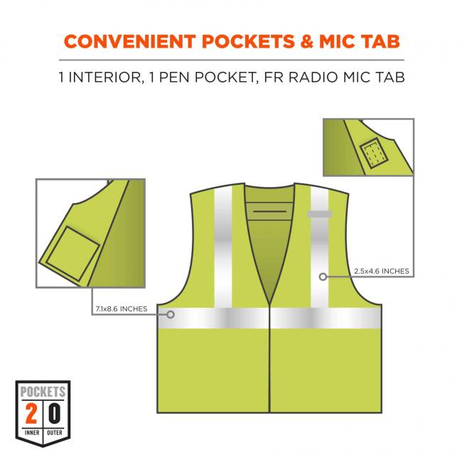 convenient pockets and mic tab: 1 interior (7.1x8.6 inches) 1 pen pocket (2.5x4.6 inches) and FR radio mic tab image 7