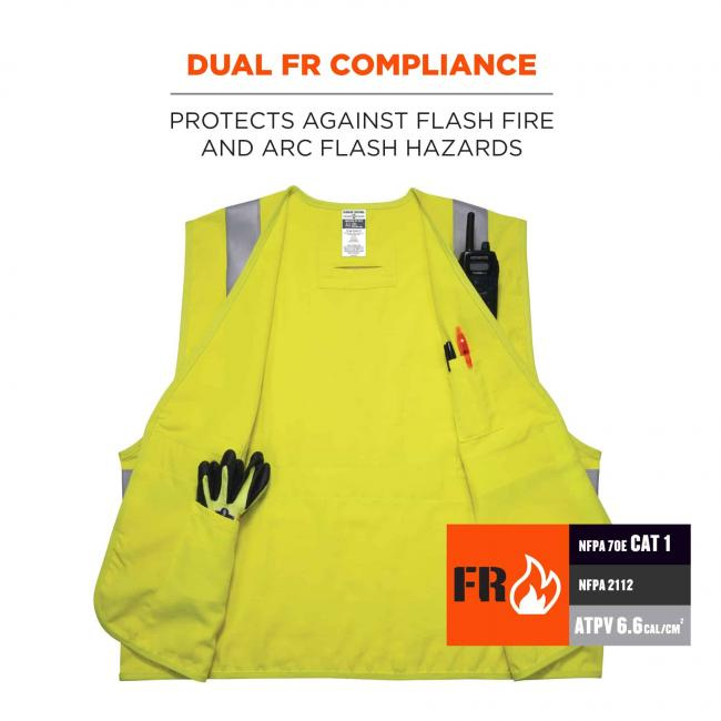 dual FR compliance: protects against flash fire and arc flash hazards.NFPA 70E CAT 1. NFPA 2112. ATPV 6.6cal/cm2  image 3
