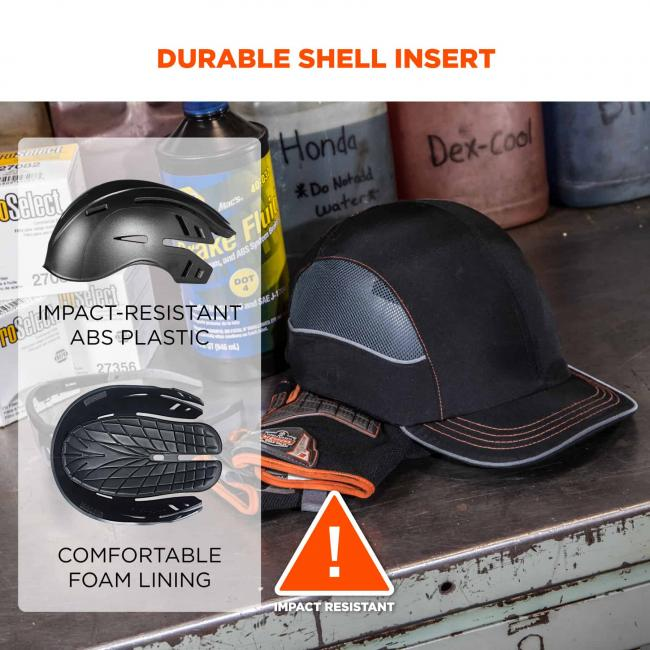 "Durable shell insert. On the left, top image of bump cap says ""impact-resistant ABS plastic"" and bottom image of inside of bump cap says comfortable foam lining"". Icon at bottom says ""! Impact resistant"""