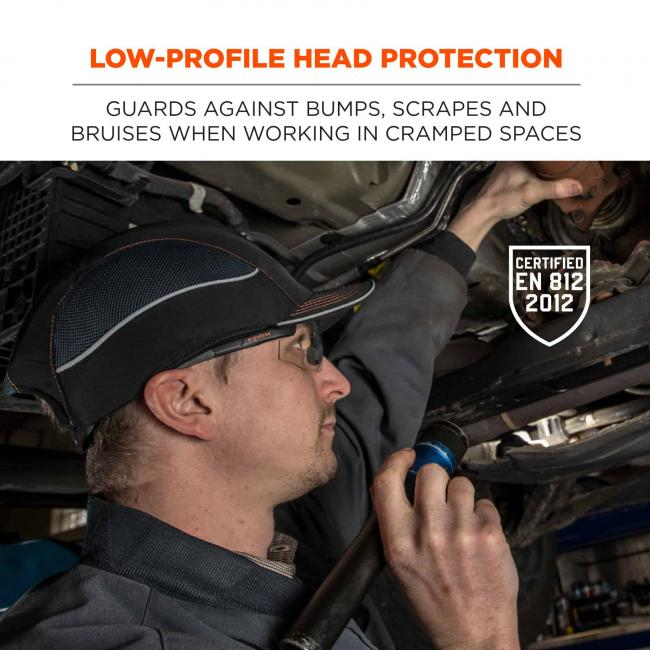 "Low-profile head protection: guards against bump, scrapes and bruises when working in cramped spaces. Icon says ""CERTIFIED EN 812 2012"""