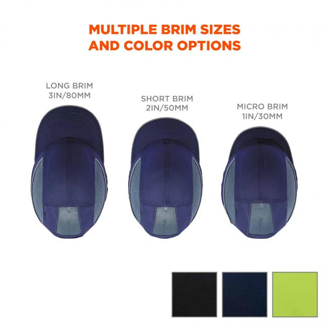 Multiple brim sizes and color options. Left image says LONG BRIM 3IN/80MM. Middle image says SHORT BRIM 2IN/50MM. Right image says MICRO BRIM 1IN/30MM. Swatches on bottom for black, navy and lime color options.