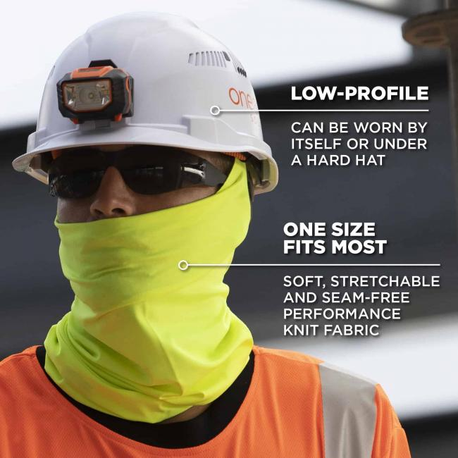 low profile: can be worn by itself or under a hard hat. one size fits most: soft, stretchable, and seam free performance knit material image 5
