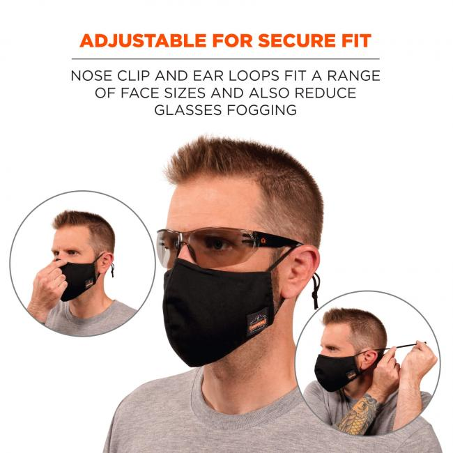 Adjustable for secure fit: nose clip and ear loops fit a range of face sizes and also reduce glasses fogging