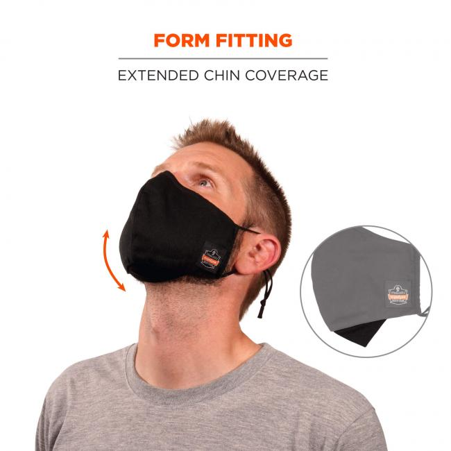 Form fitting: extended chin coverage. Arrow shows contoured face coverage.