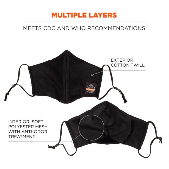 "Multiple layers: meets CDC & WHO recommendations. Arrows pointing to mask say ""exterior: cotton twill"" and ""interior: soft polyester mesh with anti-odor treatment""."