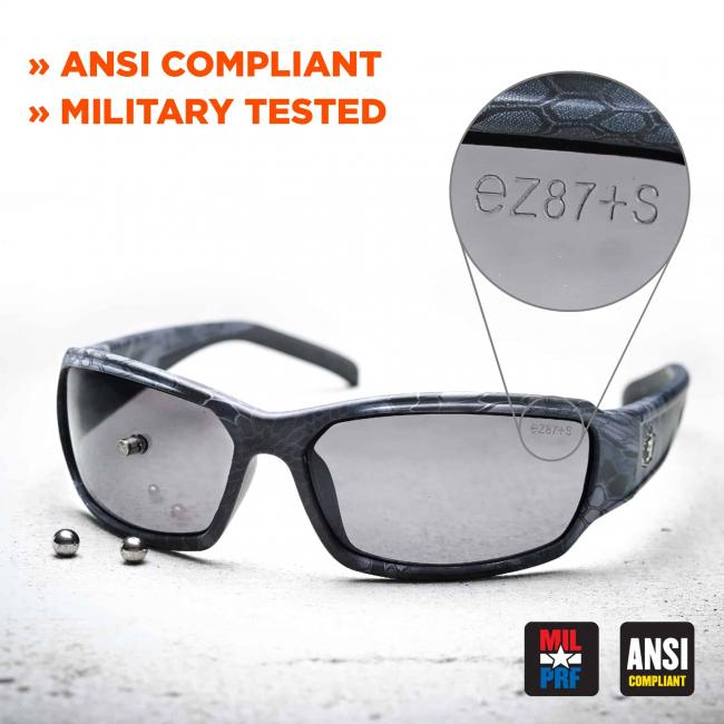 ANSI compliant, military tested. Detail shows ez87+s printed on lens. Icons on bottom right say miil-pro, ansi-compliant.