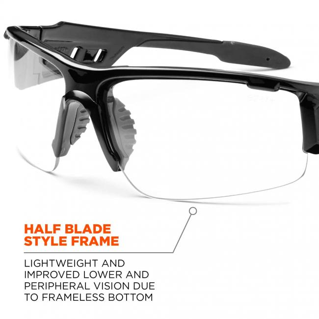 Half blade style frame: lightweight and improved lower and peripheral vision due to frameless bottom