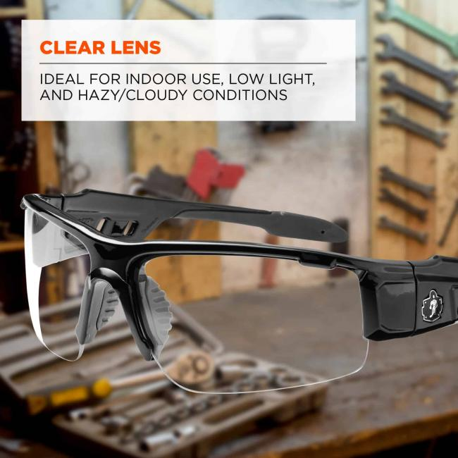 Clear lens: Ideal for indoor use, low light, and hazy/cloudy conditions